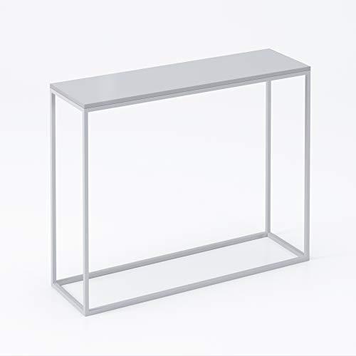 LUK Furniture Konsole MODERN Hochglanz Weiß und Schwarz HG Schminkkommode Konsolentisch Tisch Beistelltisch Wohnzimmertisch Flurtisch Dekotisch Eingangsbereich Metallrahmen (weiß/weiß Hochglanz, 80)