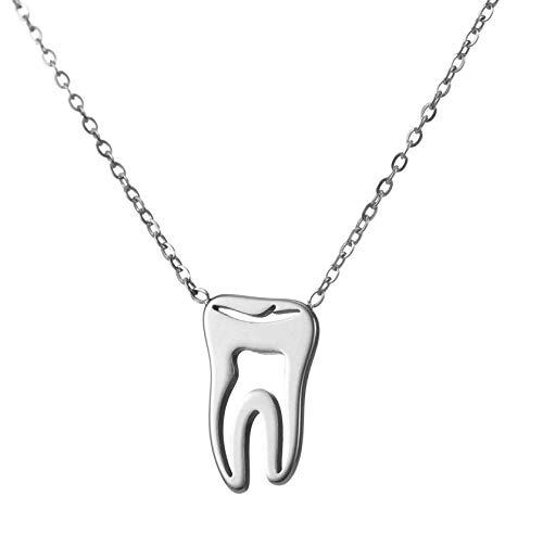TEAMER Collar de dientes de plata de acero inoxidable para proteger los dientes, colgante de declaración ahueca hacia fuera dentista joyería diaria regalos para mujeres y niñas de 18 pulgadas