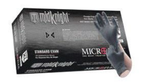 "Microflex MK-296-L Large Black 9.645"" MidKnight 4.7 mil Nitrile Ambidextrous Non-Sterile Medical Grade Powder-Free Disposable Gloves With Fully Textured Finish And Standard Examination Beaded Cuff (100 Each Per Box) (1/BX)"