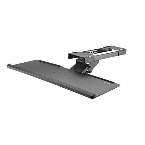 """StarTech.com Under Desk-Mount Keyboard Tray - 26.4"""" Wide - Adjustable - Ergonomic Slide-Out Keyboard Shelf with Tilt and Swivel (KBTRAYADJ), Black"""