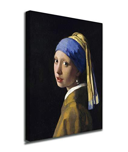 Quadro Ragazza con l'orecchino di perla .- Jan Vermeer - Girl with a pearl earring - stampa su tela canvas con o senza telaio (QUADRO CON TELAIO IN LEGNO, CM 51X60)