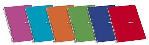 Enri 100430104 - Cuaderno rayado, A5, 80 hojas, Pack 10 Cuadernos, colores aleatorios, 4º