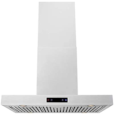 """DKB 36"""" Inch Island Mounted Kitchen Hood In Brushed Stainless Steel With 600 CFM"""