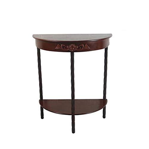 Jcnfa-Tische Einrichtungsende End- / Beistelltisch , Halbrunder Beistelltisch , 2 Farben (Color : Brown, Size : 23.62 * 11.81 * 27.55in)