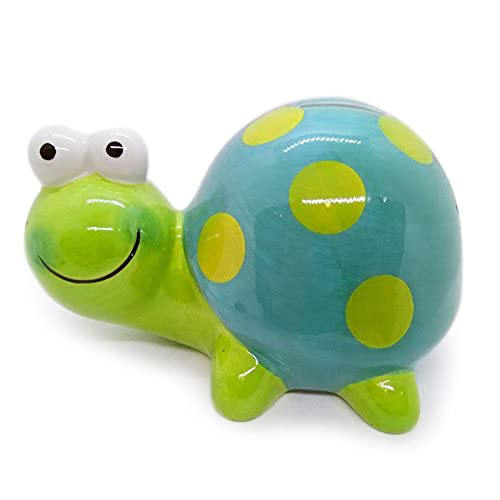 """5"""" Tall Green Turtle Piggy Bank Ceramic Cute Handmade Paint Coat Figurine Fancy Animal Decor Collect Coin Hight Quality"""