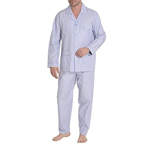 El Búho Nocturno - Pijama Hombre Largo Premium Solapa Popelín Rayas Celeste-Amarillo 100% algodón Talla 4 (L)