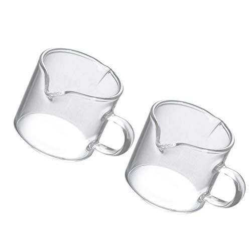 Cabilock 2 Stück Milchkännchen Glaskanne Milchkanne Sahnekanne Sauciere Glas Tasse mit 2 Ausgießer Milchkaffee Tasse Glas Krug Transparent Fett-Trenn-Kanne für Milch Sahne Sauce Kaffee 40ml