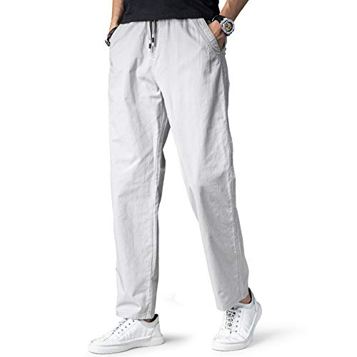 KTMOUW ズボン メンズ 夏 イージーパンツ ゆったり チノパン 綿 大きいサイ パンツ ジョガーパンツ 通気 調整紐 無地 長ズボン ワイド パンツ 灰 M