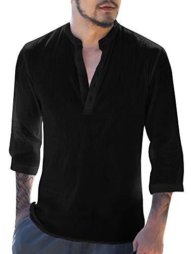 Gemijacka Herren Leinenhemd Henley Freizeithemd 3/4 Ärmellänge & Kurzarm Regular Fit Kragenloses Shirt, Schwarz, XL