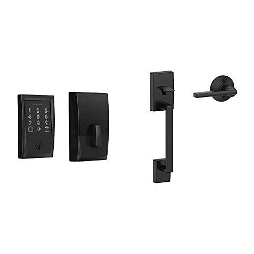 Schlage Lock Company BE489WB CEN 622 Schlage Encode Smart WiFi Deadbolt with Century Trim in Matte Black & FE285 CEN Century Trim Lower Half Front Entry Handleset with Latitude Lever, Matte Black