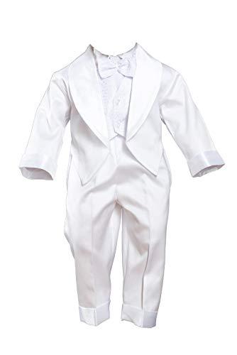 Taufanzug Smoking Festanzug mit Frack Outfit Hochzeit Weiß, Weiß, 62/68 - 24