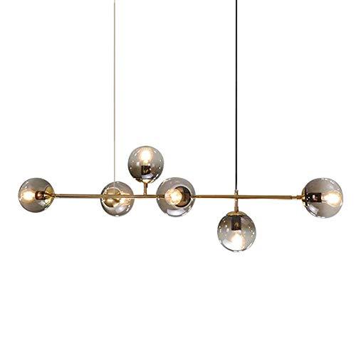 Lampadario Sputnik vintage, Lampadari in vetro E27 a 6 luci Lampadario in ottone satinato Lampadario a sospensione con molecola di ramo per soggiorno Sala da pranzo Grigio fumo 6 luci Oro