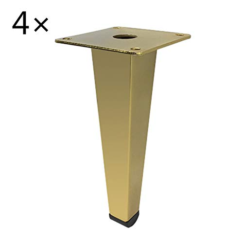 Sofa leg Pieds de Support de Meuble en Tube carré Titane, Support Stable, Pied de canapé Pieds de Support de Chaussure de télévision, 4 porteurs 1000kg, 1 Paquet de 4