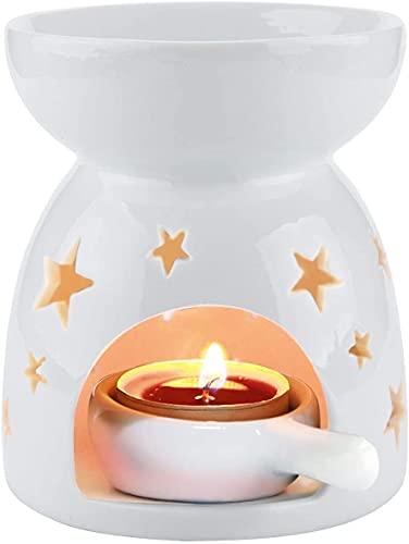 Quemador de cera para derretir de cera, quemador de cera, quemador de aceite de cerámica con 4 velas, difusor perfumado para el hogar, dormitorio, decoración de flores, color blanco