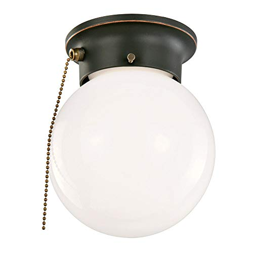 Design House Mounts 519264 1 Flush Globe Ceiling Light with Pull Chain, Oil Rubbed Bronze