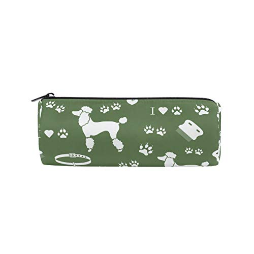 DEZIRO Pudel Kamm Halsband Hund Track Grün Trommel Studenten Schreibwaren Tasche Reißverschluss Tasche