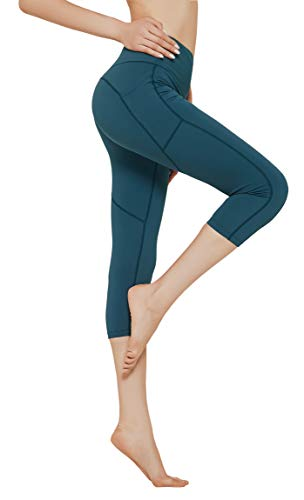 N-A Workout High Waist Yoga Pants with Pockets Tummy Control Side Pocketed Running Capris Leggings for Women M Blue Green