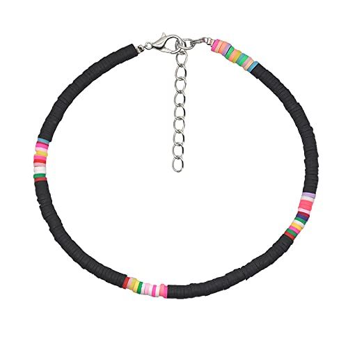 Brazalete De Tobillo 4 Mm Color Colorido Clay Anklet Summer Beach Hit Color Soft Clay Anklet Pulsera Jewelry-W