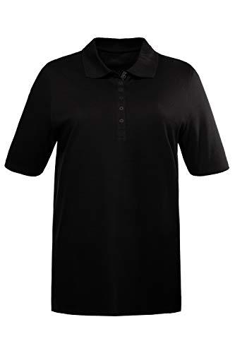 Ulla Popken Große Größen Damen Poloshirt Polopiquee Shirt Schwarz (Schwarz 10), 58 (Herstellergröße: 58+),58 DE / 60 EU