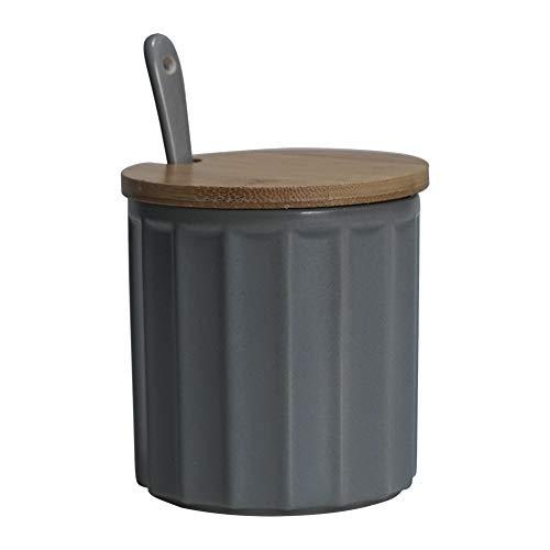 Zuccheriera in ceramica con coperchio in bambù e cucchiaino, design elegante, per casa e cucina, bianca, 270 ml Grigio.