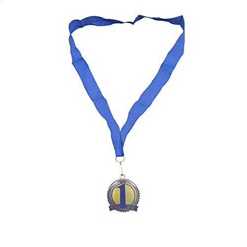 Medalla de Estrellas Dorada | Medalla para Premios | Premios para Niños | Trofeo | Medalla para Aprendizaje | 48 x 8 Centímetros | Azul | ✅