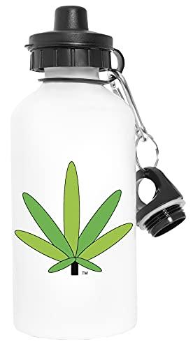 Verde Canabis Marijuana Maceta Hoja - Marijuana Deporte Viaje Blanco Botella De Agua Metal Prueba de Fugas Sport Travel White Water Bottle Leak-Proof