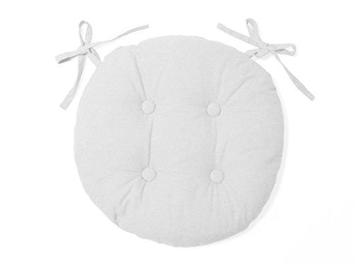 Soleil d'ocre Cojín de Silla Redondo en capitoné de algodón Panama Blanco