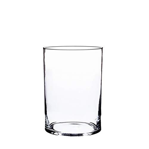 INNA-Glas Zylindrische Glasvase Sansa, transparent, 20cm, Ø 15cm - Tischvase - Glas Vase