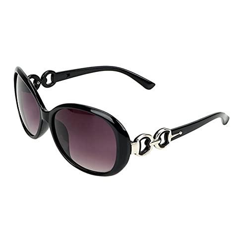 Controlador de Lujo de la Marca Mujeres del diseñador de Moda Gafas de Sol de los vidrios de Sun del Desgaste de la Motocicleta de protección Gafas Gafas de Sol de Ojos (Color : Bright Black)