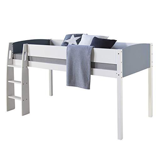 Homestyle4u 1845, Kinderbett 90x200, Hochbett Kinder, Weiß Grau, Holz Kiefer