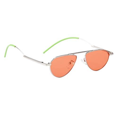 Amuzocity Gafas de Sol Retro Vintage con Montura Pequeña Gafas de Lente Espejada Ovalada - Plata + Naranja, Talla única