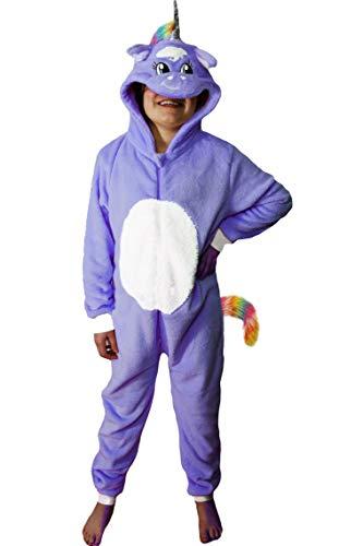 Wunsy Strampler Onesie Tier für Kinder Jungen und Mädchen 12-13 Jahre , Einhorn mit Pailletten, violett mit Schwanz.