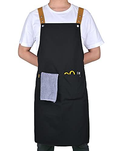 Small snail Cocinero Delantales Ajustable Cinturón Cuello con 2 Bolsillos Impermeable Lienzo Lazos Largos Delantal Horneando Jardinería Restaurante Babero Ropa Trabajo para Hombres Mujeres Negro