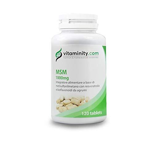 Vitaminity - MSM 1000mg - 120 Compresse - Integratore alimentare antiossidante per capelli e cute