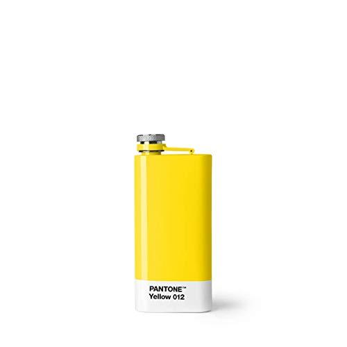 Pantone 16628 Yellow 012 Flachmann, Edelstahl mit Schraubverschluss, Rostfreier Stahl, gelb