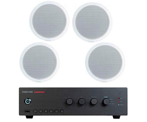 FONESTAR Pack risparmio 100 - Amplificatore PROX-30 + quattro altoparlanti da soffitto GAT-601