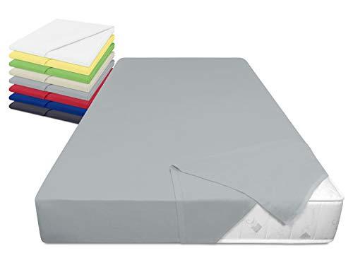 laken24 Haushaltstuch aus 100% Baumwolle - Betttuch ohne Spanngummi - ca. 150 x 250 cm - in 8, hellgrau