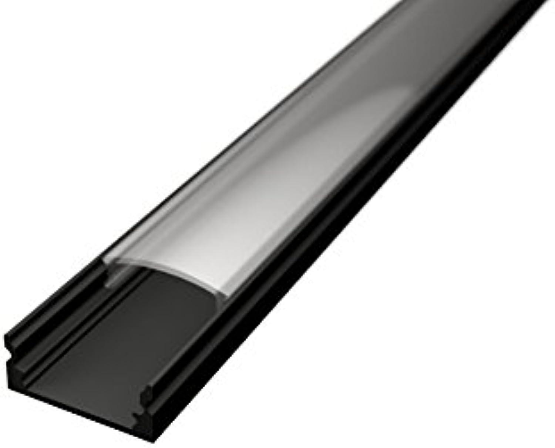 TL1205 Aluprofile für LED-Streifen, 2 m, schwarz, mit matter oder transparenter Abdeckung, Kappen und Haken-Befestigungen im Lieferumfang enthalten 5 BARRE DA 2 MT (10 MT) Cover Trasparente