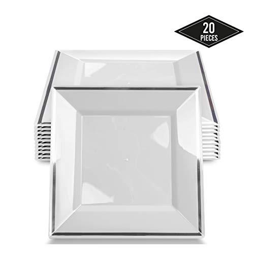 20 Elegante Quadratische Plastik Einwegteller mit Silbernem Rand, 24cm| Stabil & Wiederverwendbar Partyteller Kunststoff| Weiß & Silber Einweggeschirr| Speiseteller für Hochzeit Geburtstage Partys.