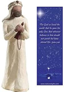 Willow Tree Wisemen Gold Individual Nativity Figurine with Nativity Bookmark