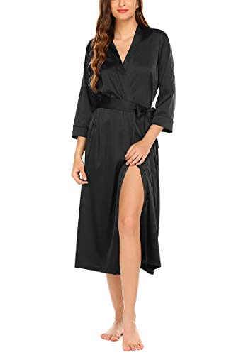 Hotouch Women's Silk Bathrobe Pure Colour Long Satin Kimono Robes with Oblique V-Neck Black