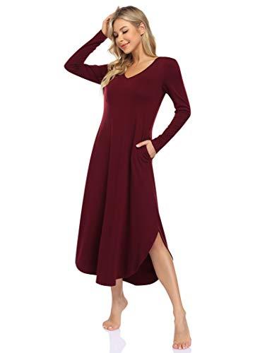 Clearlove Nachthemd Damen Langarm Nachtwäsche mit V-Ausschnitt Lange Freizeitkleid Sleepwear mit Taschen (Verpackung MEHRWEG), A-Weinrot, M