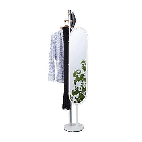 Relaxdays Perchero Pie con Espejo Recibidor Reclinable, Acero, Blanco, 175 cm