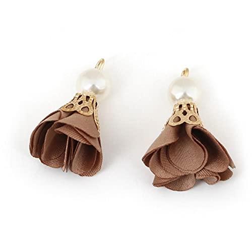 10 unids / Lote Encanto de Borla de Flor de Perla con Tapas de aleación de Oro para fabricación de hallazgos de joyería de Bricolaje y Accesorios de Ropa de Moda-marrón