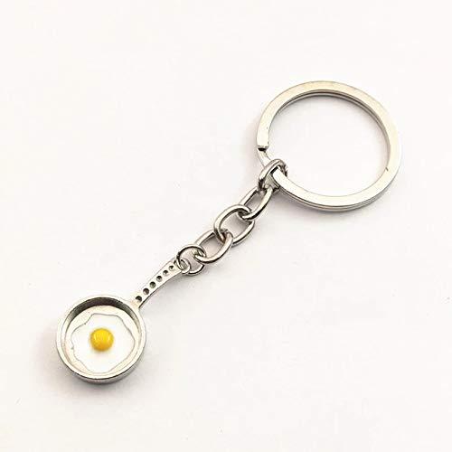 HONGYAN Schlüsselbund Schlüsselanhänger ,1 Stück antike Silberne süße Pfannen Spiegeleier Charms Anhänger Schlüsselbund Bratpfanne Schlüsselbund