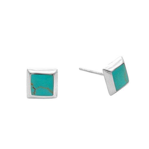 Silverly Pendientes Mujeres en Plata de Ley .925 con Piedras Simuladas Turquesa Blue Cuadrado 7 mm