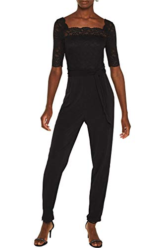ESPRIT Collection Damen 129EO1L002 Jumpsuit, Schwarz (Black 001), Small (Herstellergröße: S)