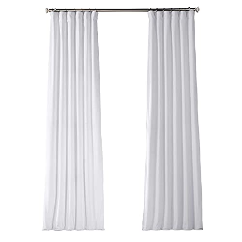HPD Half Price Drapes VPYC-161201-96 Plush Velvet Curtain (1 Panel), 50 X 96, Pillow White