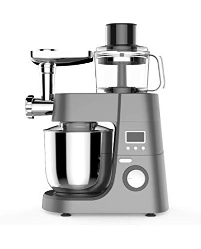 Ohmex OHM-SMX-1140 – Robot de cocina con soporte, 1500 W, 8 velocidades, 6,5 l, pantalla LCD, función pulso, 3 accesorios para mezclar – Función de seguridad
