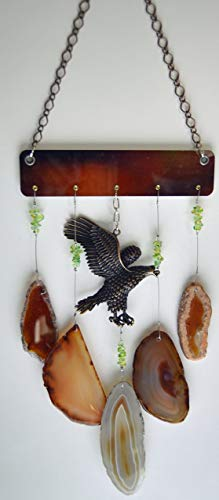 Agate slice stone geode wind chime windchime grey and amber colors with large copper Eagle sun catcher wind chime mobile